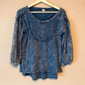 We the free people acid wash small top blue